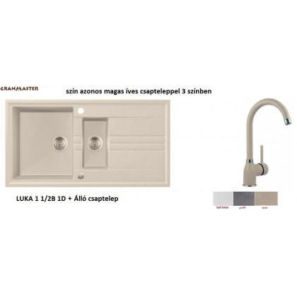 GRANMASTER LUKA 1 1/2B 1D gránit mosogató + magas íves csaptelep --